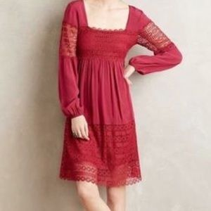 Anthro | Floreat Adeline red fall dress size 6